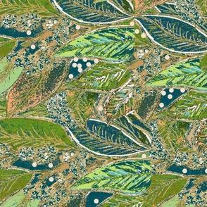 Period Style Fat Quarter Cushion Panel- Leaf Botanical - Green & Blues