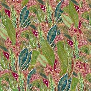 Period Style Fat Quarter Cushion Panel- Leaf Botanical