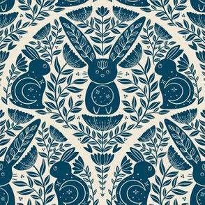 Mystic Forest Rabbits in deep woods, dark navy blue