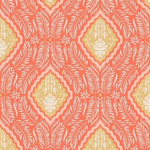 Lamb Illustration's Tropical Block Print - Coral