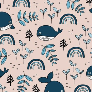 Cute little baby whale deep sea ocean design with rainbows and coral peach pink blue girls