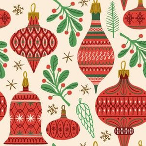 Vintage Baubles ~ Red and Green (Smaller scale)