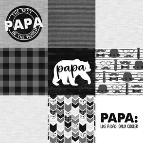 Papa Bear//Grey&Black - Wholecloth Cheater Quilt