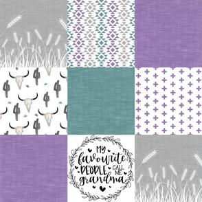 Grandma//Western/Aztec - Purple&Turq - Wholecloth Cheater Quilt