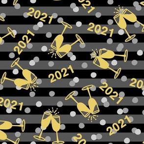 New Year's Toast 2021 on Black Stripe (Large Size)