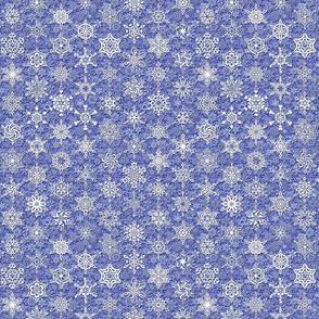64 snowflakes winter white on periwinkle blue