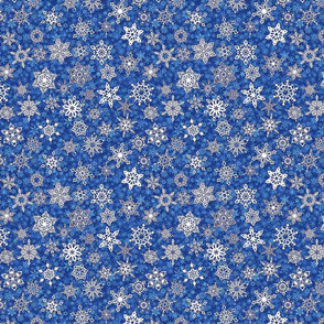 snowflakes on sapphire blue candy snowstorm