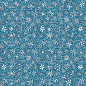winter snowflakes on aqua & teal blue snowstorm