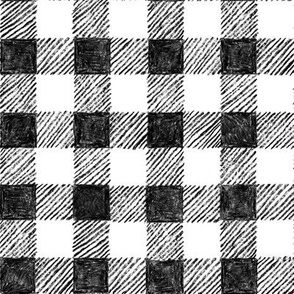 """1"""" crayon gingham, black and white"""