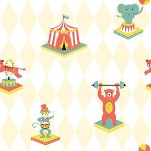 Circus with clown, monkey, bear