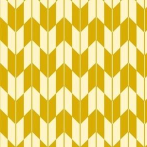 Japanese Yagasuri Arrow Feathers Retro Yellow - Small Scale