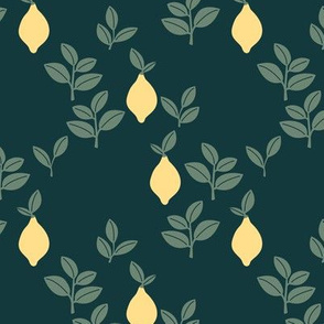 Sweet vintage lemon garden botanical boho leaves and minimalist Scandinavian style fruit design forest green