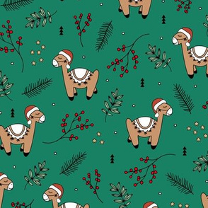Christmas Llama and santa hat alpaca animals and mistletoe winter pine leaves forest green red