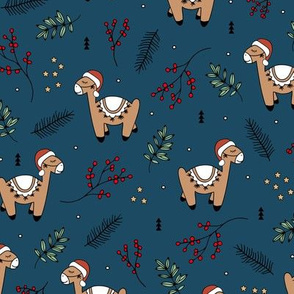Christmas Llama and santa hat alpaca animals and mistletoe winter pine leaves navy blue red green