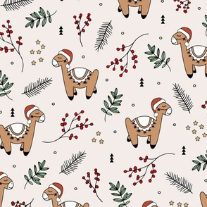 Christmas Llama and santa hat alpaca animals and mistletoe winter pine leaves off white sand red green