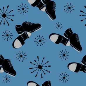 Tap Dance Shoes Pattern Black and Blue