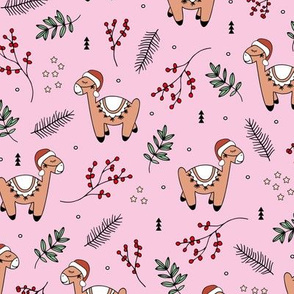 Christmas Llama and santa hat alpaca animals and mistletoe winter pine leaves pink green girls