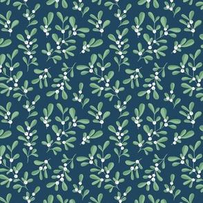 Little mistletoe garden minimal botanical berries and leaves Christmas design navy blue green white SMALL