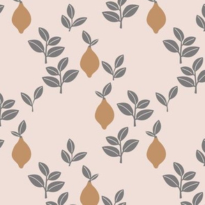 Sweet vintage lemon garden botanical boho leaves and minimalist Scandinavian style fruit design pale peach gray ochre