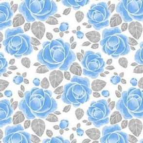 Blue rose flowers with gray leaves