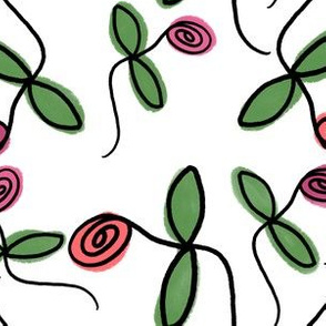 continuous line roses