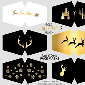 Black gold white holiday face masks with deer trees snowflakes