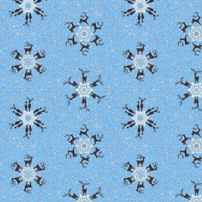 reindeer snowflakes on cornflower blue snowstorm