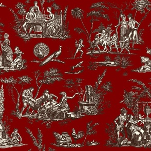 Marseilles Toile ~ Oxblood with Senart on Cosmic Latte