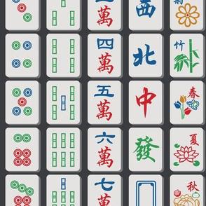 Mahjong Tiles on Charcoal
