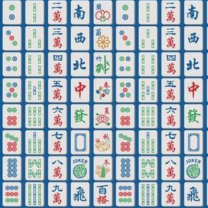 Mahjong Tiles on Blue (1/2 scale)