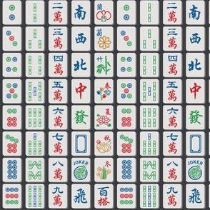 Mahjong Tiles on Charcoal (1/2 scale)