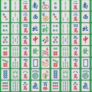 Mahjong Tiles on Green (1/2 scale)