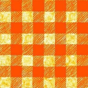 "1"" batik gingham - solar orange"