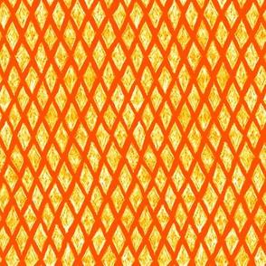 batik diamonds - white and yellow on solar orange