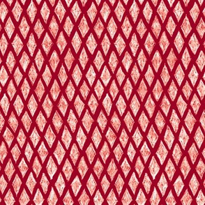batik diamonds - white on cranberry red