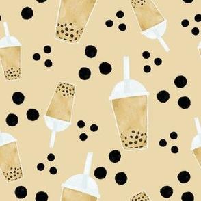 boba tea and dots on cream