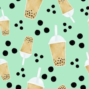 boba tea and dots on mint