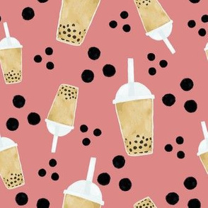 boba tea and dots - raspberry
