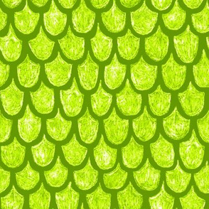 mermaid scales in bright lime green