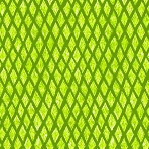 batik diamonds - white on bright lime green