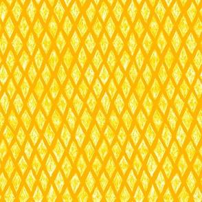 batik diamonds - white on yellow
