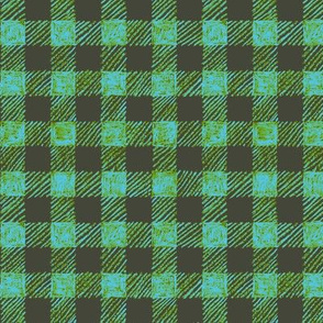 "5/8"" batik gingham - khaki, leaf green and light blue"