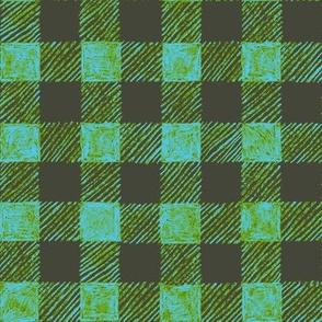 "1"" batik gingham - khaki, leaf green and light blue"