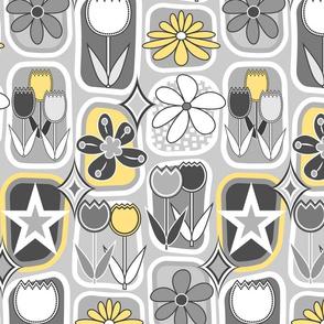Mid Century Modern Flowers // Tulips, Daisies, Stars // Yellow, Gray and White
