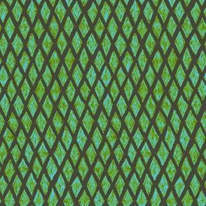 batik diamonds - light blue and leaf green on khaki