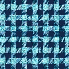 "5/8"" batik gingham - navy and bright blue"