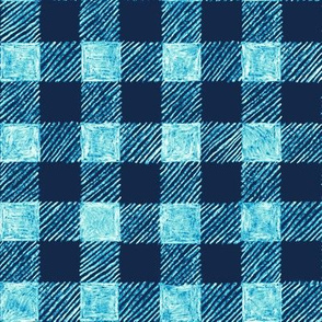 "1"" batik gingham -navy and bright blue"