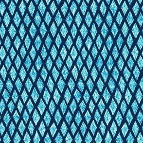 batik diamonds - bright blue on navy