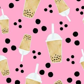boba tea and dots on bubble gum pink
