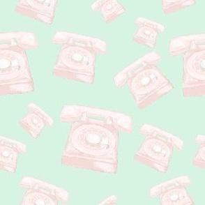 retro pink rotary phones - mint